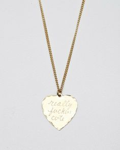 """Really fuckin cute"" brass hand-engraved heart charm necklace by 'In God We Trust'"