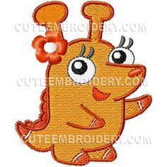 """Free Machine Embroidery Designs, Cute Embroidery Designs - Monster Design Details Size (in): 2.44""""(w) x 2.95""""(h)  Size (mm): 62 x 75  Stitches: 7900  Colors: 9"""