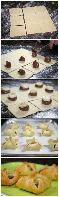 Nutella and Banana Pastry Purses. These are so easy to make and only take a few minutes.