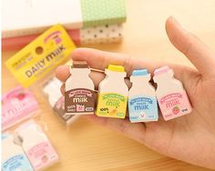 Kawaii erasers in milk bottle shape. Quantity: 2 pcs Color: blue & pink Size: 1.2 cm(W) x 2.2 cm(L) x 4 cm(H)  More erasers, stationery and craft