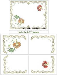 3 Designs & 2 Panels for Doily Digitized by Santi * Cross hairs have been added for easy alignment * Instructions included in the color chart Doilies, Embroidery Designs, Africa, Detail, Color, Colour, Colors