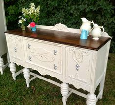 LoveLeigh Again: cottage white buffet, distressed with walnut top...