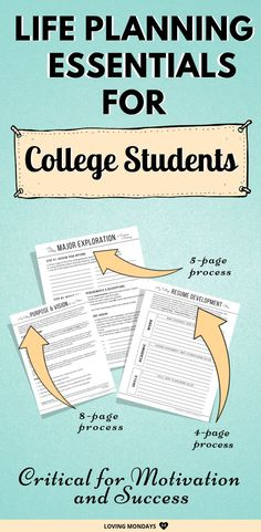 This perfect college planner includes 36 college success printables including three essential life planning processes necessary for all college students. College Success, Student Success, College Life, College Hacks, College Schedule, College Planner, Student Planner Printable, Academic Planner, Scholarships For College