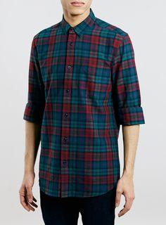 Burgundy Tartan Long Sleeve Oxford Shirt