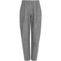 Acne Studios Selah grey Harris tweed trousers found on Polyvore featuring pants, pocket pants, pleated front pants, acne studios, grey pants and grey trousers
