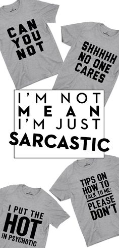 Fulfill your sarcasm needs with the most sarcastic and funny tees, sweatshirts, emoji accessories, hoodies, and more at Sarcastic ME. Funny Tees, Funny Tshirts, Sign Quotes, Funny Quotes, Sarcastic Jokes, Shop Till You Drop, Clever Quotes, Funny Comments, Diy Clothes