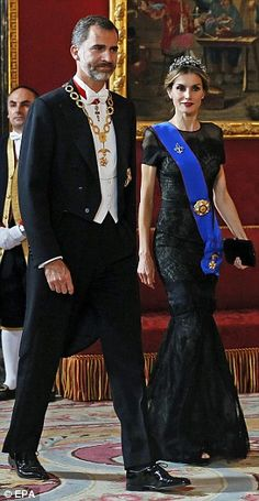 Striking: Letizia looked wonderful in a black lace gown and diamond tiara
