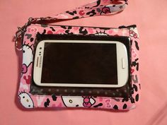 Larger Cell Phone Wallet Hello Kitty Pink by StitchingInTheTrees, $30.00