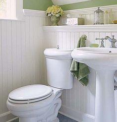 Beadboard Wainscoting Bathroom | Beadboard wainscoting and period fixtures define ... | Bungalow Bathr ...