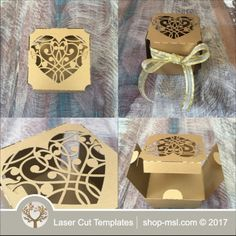 This laser cut gift box is ideal for a wedding or any event. Add this template to your product list or kick start a new range today. Wedding Gift Boxes, Wedding Gifts, Paper Box Template, Laser Cutting, Wedding Designs, Place Card Holders, Gift Wrapping, Templates, Shop