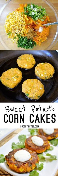 Sweet Potato Corn Cakes with Garlic Dipping Sauce Cumin, cilantro, and cayenne pepper add big flavor to these savory Sweet Potato Corn Cakes. Dip them in the creamy garlic sauce for even more zing! Veggie Dishes, Vegetable Recipes, Side Dishes, Vegetarian Recipes, Cooking Recipes, Healthy Recipes, Delicious Recipes, Veggie Recipes Sweet Potato, Sweet Potato Snack