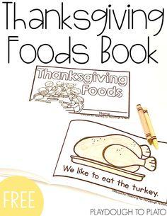 Free Thanksgiving little reader book for preschool or kindergarten. Fun Thanksgiving activity for kids!