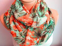 Orange Flowers Printed Infinity Scarf,Shawl Circle Scarf,Loop scarf,Gift Ideamadamesoho