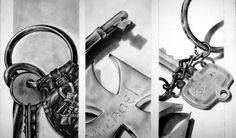 Keys Triptych Drawing  - Keys Triptych Fine Art Print