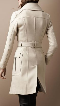 Layered Collar Pea Coat, Burberry