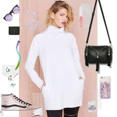 Nasty Gal Scuba Turtleneck We're all about basics, but we're most definitely not trying to be basic b*tches. This white scuba sweatshirt has a funnel neck, boxy fit, and pockets at sides. Raw-cut hems, unlined. Wear it with skinny jeans and sky-high booties. By Nasty Gal  *Poly/Spandex  *Runs true to size *Model is wearing size small Feel free to ask me any questions Thanks for browsing my closet!             Happy Poshing Nasty Gal Sweaters Cowl & Turtlenecks