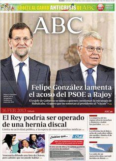 Los Titulares y Portadas de Noticias Destacadas Españolas del 16 de Febrero de 2013 del Diario ABC ¿Que le parecio esta Portada de este Diario Español?