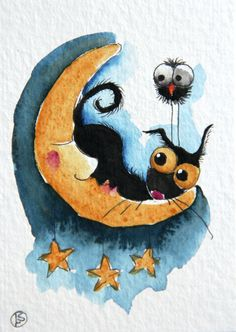 Sleepy moon by stressiecat on Etsy