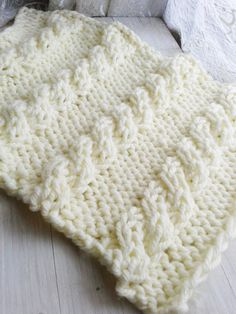 PDF Knitting Pattern Cable Mini Blanket Instant Download/ Knitting PDF Posing Blanket knit a Chunky Baby Blanket