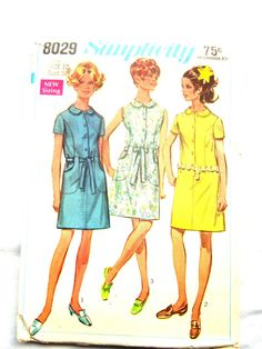 Sixties Simplicity 8029 Dress Pattern, 1968 Misses Size 12 Dress Pattern with Peter Pan Collar, Optional Belt Pockets and Sleeves