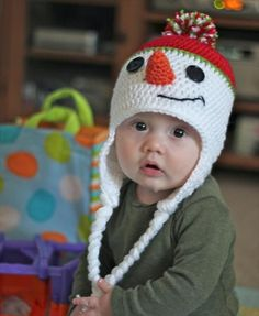 Snowman Kids Crochet Hat Pattern