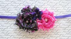 Black Pink Purple  Shabby Chiffon Newborn by CappyClips on Etsy, $9.00