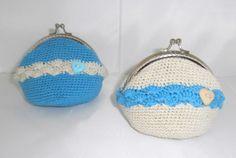 monederos a crochet tejidos a dos colores