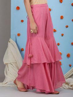 Salwar pants - Old Rose Mulmul Sharara Sleeves Designs For Dresses, Dress Neck Designs, Blouse Designs, Sharara Designs, Kurta Designs Women, Designer Party Wear Dresses, Indian Designer Outfits, Funky Dresses, Stylish Dresses