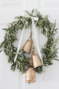 greenery wreath with bells