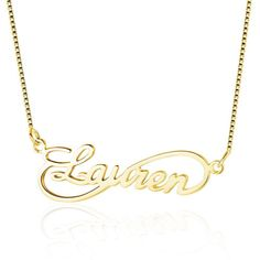 Cursive Infinity Loop Name Necklace 14k Gold Plate