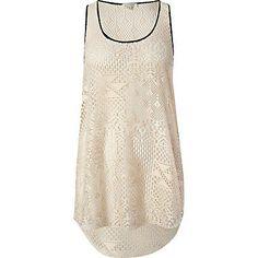 beige crochet vest - sleeveless tops - tops - women - River Island