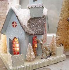 faries love little Glitter houses. Christmas Village Houses, Christmas Town, Putz Houses, Christmas Villages, Noel Christmas, All Things Christmas, Vintage Christmas, Christmas Ornaments, Christmas Glitter