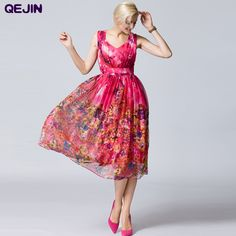 Find More Dresses Information about High Quality 2016summer long dress printing silk satin vestido v neck and sleeveless sexy ball grown women dress plus size 2XL,High Quality dress comfort,China dress model for girl Suppliers, Cheap dress shoes with low heels from Sharewin Fashion(QEJIN) Co.,ltd on Aliexpress.com