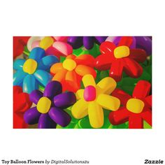 Toy Balloon Flowers Wood Wall Art