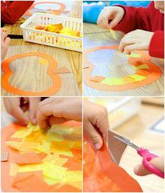 Kürbis Fensterbilder aus Seidenpapier und Klebefolie