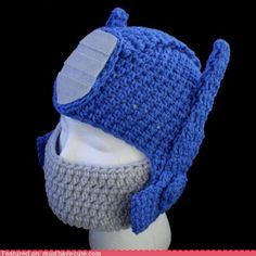 cute kawaii stuff - Optimus Prime Transformers Hat-if only i knew how to crochet