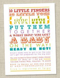 Rainbow Baby Shower Invitation - colorful words, gender neutral, coed (Printable Digital File OR Printed Cards). $14.00, via Etsy.