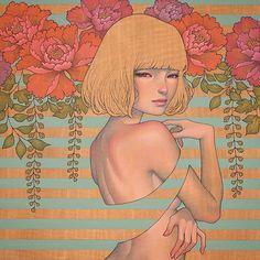 Regardez cette photo Instagram de @audkawa • 15.7 k J'aime woman illustration drawing audkawa flowers peony