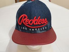 Y&R Young and Reckless Los Angeles Men's denium blue red NEW NWT hat cap RARE #YoungandReckless #hatcap
