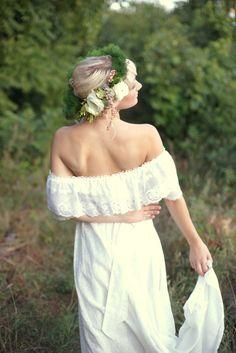 floral head wreath, off the shoulders dress, green wedding    Jaimee C Photography