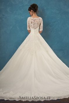 Amelia Sposa Half Sleeves A-line Lace Wedding Dresses Patrizia2 / http://www.deerpearlflowers.com/amelia-sposa-2017-wedding-dresses/