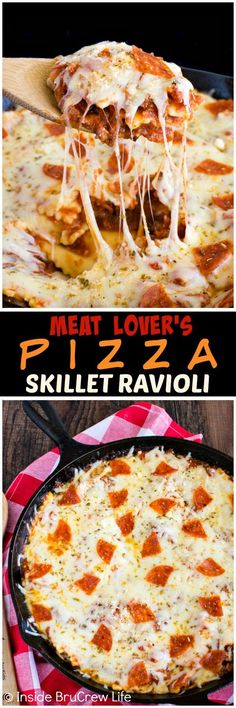 Meat Lover's Pizza Skillet Ravioli - melted cheese & three kinds of meat make this pasta dish a hit at the dinner table. Great recipe for busy nights!