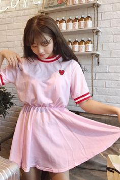 Summer Pink Preppy Cute Short-sleeved Casual Fashion Dress Preppy Dresses, Cute Dresses, Fashion Dresses, Summer Dresses, Cute Shorts, Short Sleeves, Casual, Pink, Shopping