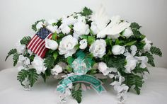 XL Beautiful White Roses With Wisteria Cemetery Tombstone Saddle #Crazyboutdeco