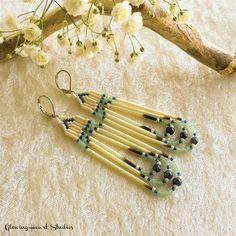 Porcupine Quill Beaded earrings navy blue by GlowingHeartStudios Native Beading Patterns, Beaded Earrings Patterns, Seed Bead Patterns, Jewelry Patterns, Beaded Jewelry, Brick Stitch Earrings, Seed Bead Earrings, Diy Earrings, Antler Jewelry