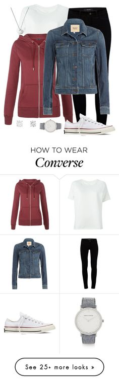 """six hundred and six"" by jamie-e-s on Polyvore featuring Majestic Filatures, J Brand, Paige Denim, Converse, Larsson & Jennings and Tiffany & Co."