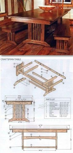 Plans for a dining room table
