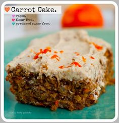 Vegan Carrot Cake with Cream Cheese Frosting: Healthy Dessert! Ok for Gluten Free as long as you can have oats. I'm not vegan, so I'd use real butter and real cream cheese frosting if I made this. Vegan Dessert Recipes, Köstliche Desserts, Delicious Desserts, Cake Recipes, Healthy Recipes, Gluten Free Carrot Cake, Vegan Carrot Cakes, Vegan Blogs, Cake With Cream Cheese