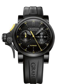 63b4abb964d Top Replica Graham Chronofighter Black Dial Black Rubber Automatic Men s Watch  For Sale
