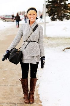 Love the woolly cardigan with narrow belt with long, distressed brown boots.